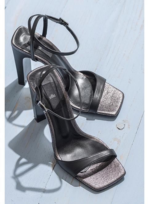 Elle Kalın Topuklu %100 Deri Ayakkabı Siyah